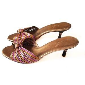 Cole Haan Kitten Heel Mule Sandal Gold 7B